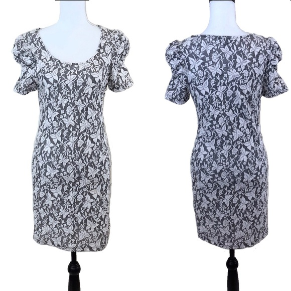 2483af0b778c Forever 21 Dresses | Bodycon Dress Butterfly Gray White L | Poshmark